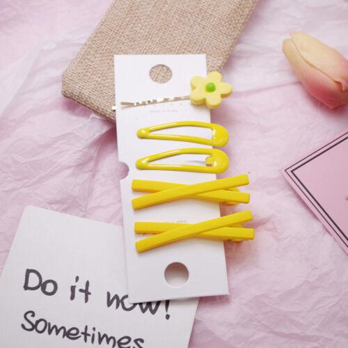 5PCS//Set Flower Hair Clip Chic Candy Color Barrette Hairpins Geometric Hairgrip