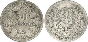 Deutsches Kaiserreich 50 Pfennig 1877 D s-ss 62474