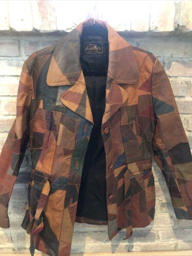 Men's Vintage Leather Patchwork Blazer Coat