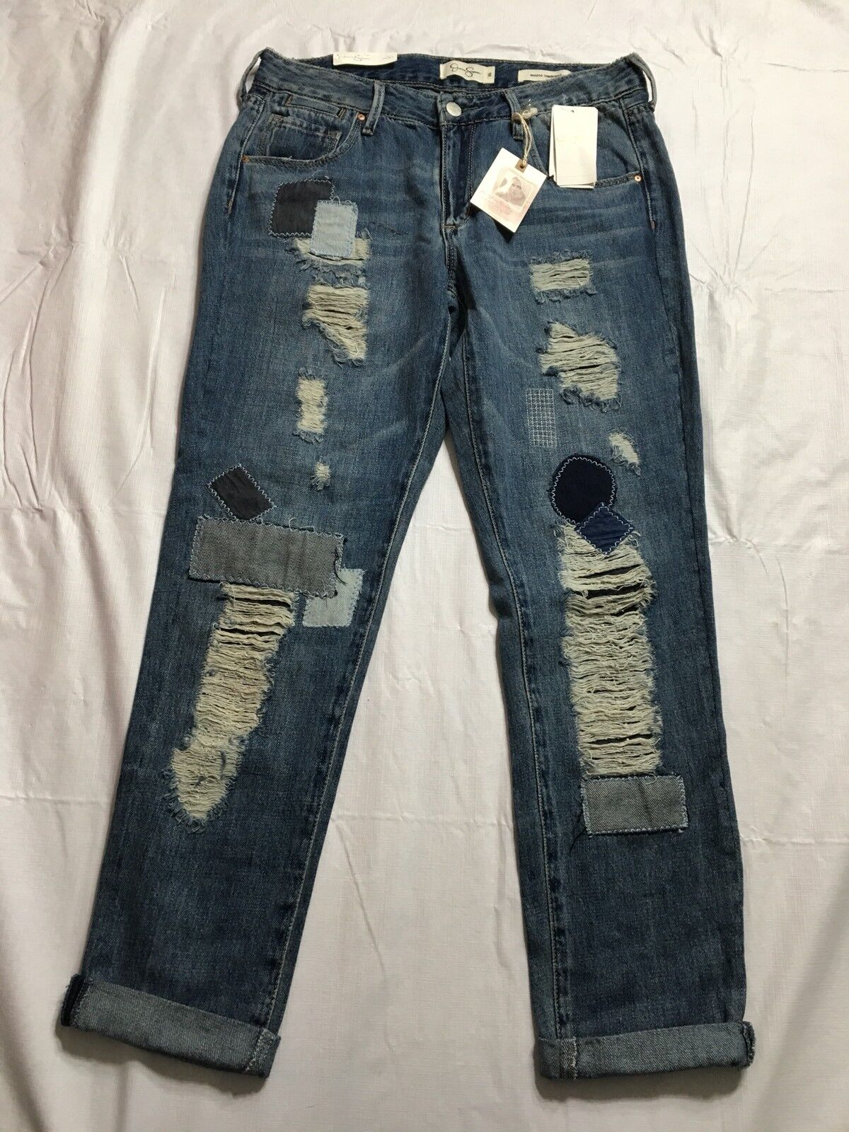 Jessica Simpson Monroe Boyfriend Jeans 26 Med Wash Distressed  Patchwork