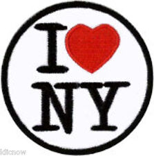 """I Love NY Embroidered Patch 6cm Dia (2 1/2"""") approx"""