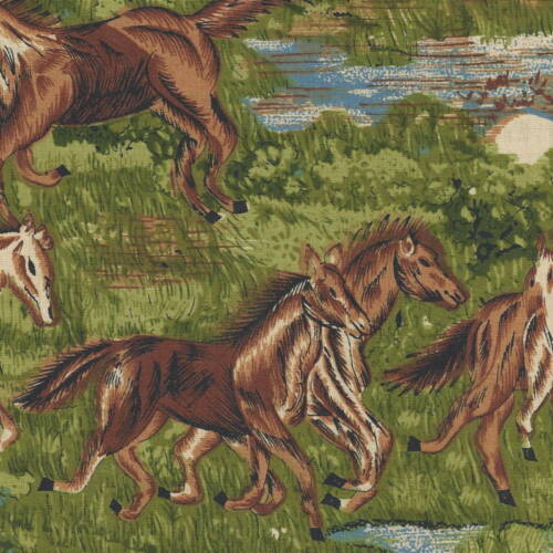 100/% Cotton RUNINING HORSES ON A PASTURE  By The Yard    3107 QUILT FABRIC