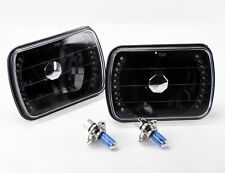 "7x6"" Halogen Semi Sealed H4 Black LED Glass Headlight Conversion w/ Bulbs TOYOTA"