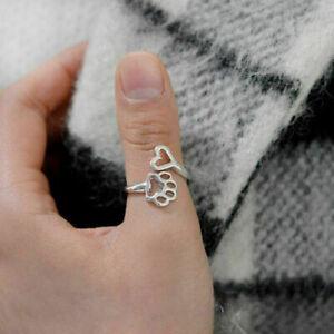 Anello-regolabile-dell-039-anello-di-cuore-di-amore-di-stampa-della-zampa