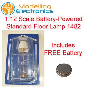 Escala 1:12 de la casa de muñecas Emporium alimentado por batería estándar Lámpara de pie 1482