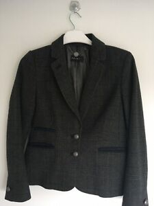 AUTOGRAPH : Lovely Sz 12 Grey Wool Tweed Check Navy Trim Military Button Jacket