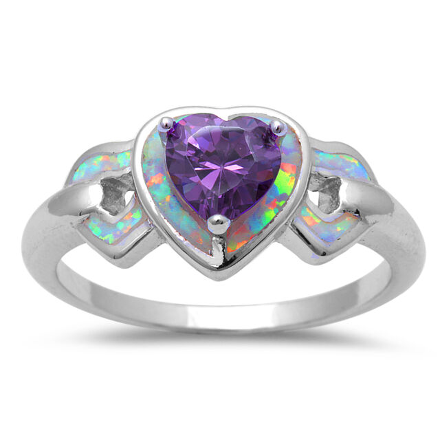 White Opal & Amethyst Hearts  .925 Sterling Silver Ring Sizes 4-10