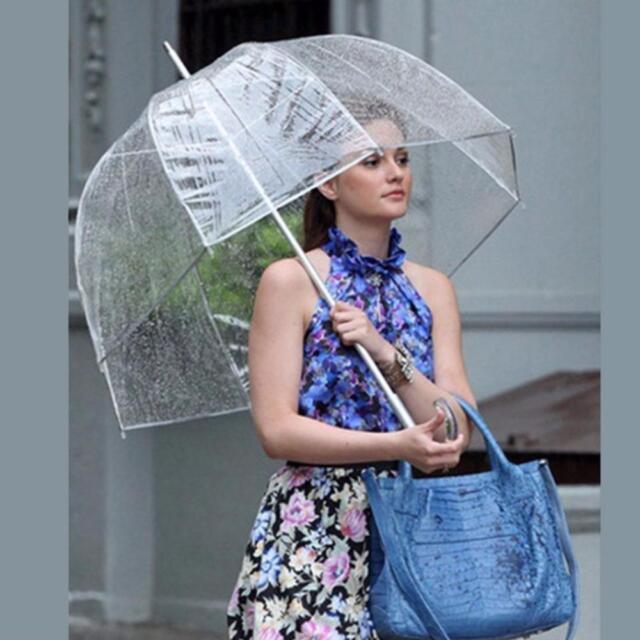 28fcf49a3 Transparent Long Handle Women Umbrella Semi-automatic Portable Clear  Umbrellas