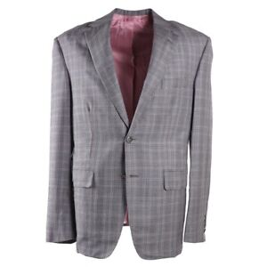 NWT-4295-OXXFORD-Gray-and-Pink-Check-Cashmere-Silk-Sport-Coat-42-R-Type-A