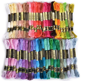 50-Multi-Colors-Cross-Stitch-Cotton-Sewing-Skeins-Embroidery-Thread-Floss-Kit-US