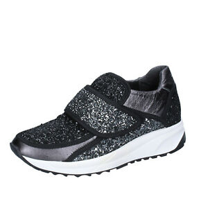 Dettagli su scarpe donna LIU JO 36 EU sneakers nero grigio glitter BS606 36