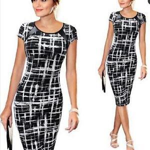 Slim-Sketch-Black-Women-Pencil-Office-Dresses-Full-Sleeves-Mid-Calf-Plus-Size-JJ