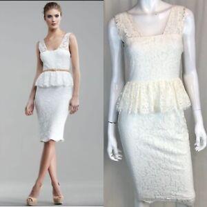 NWT-375-Robert-Rodriguez-Women-039-s-4-Ivory-Floral-Lace-Peplum-Ruffle-Sheath-Dress