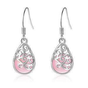 925-Silver-Earrings-Pink-Opal-Ear-Drop-Women-Retro-Fashion-Jewelry-Party-Gift