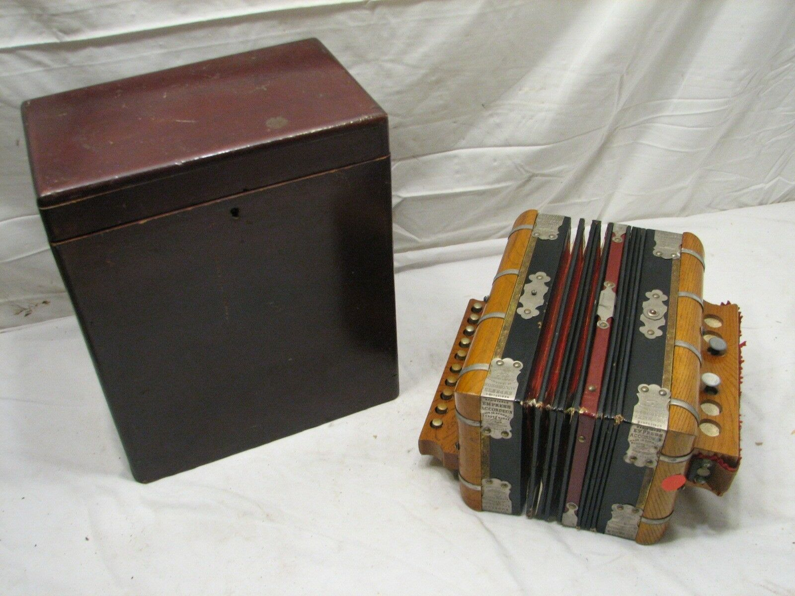 Antique Empress Accordeon Folk Instrument w Wooden Case Accordion Germany