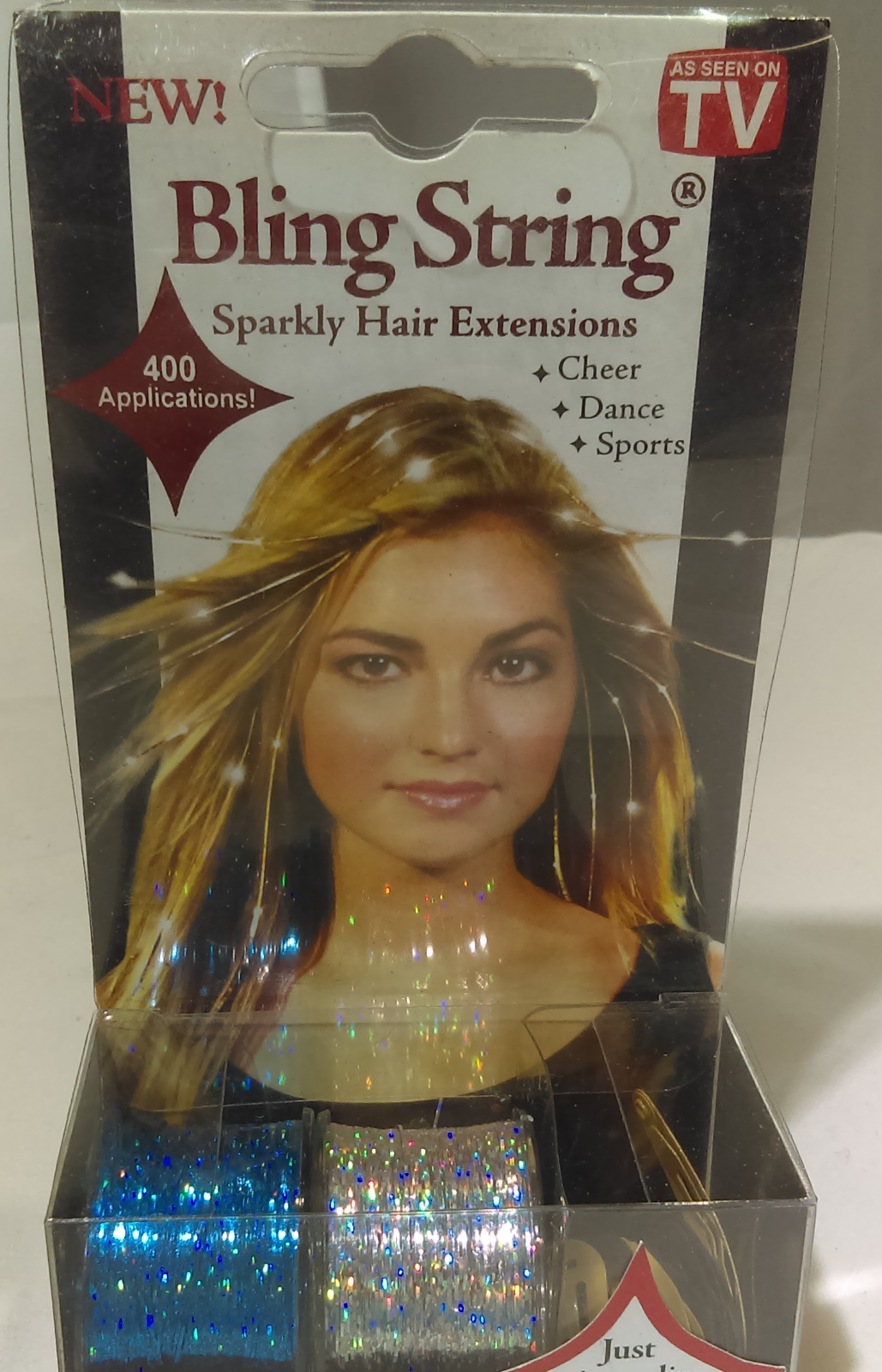 Mia Bling String Sparkly Hair Extensions Blue And Silver Spools 10