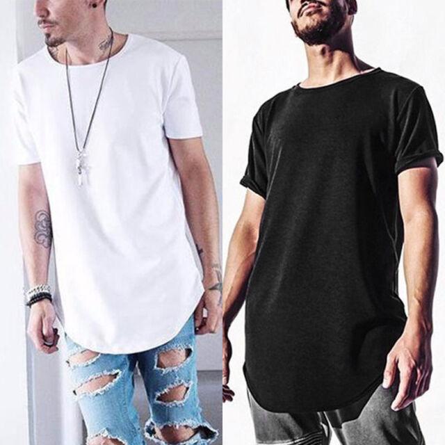 Estate Uomo T-Shirt lungo Esteso Basic Maglietta Casual Hip Hop Girocollo Maglia