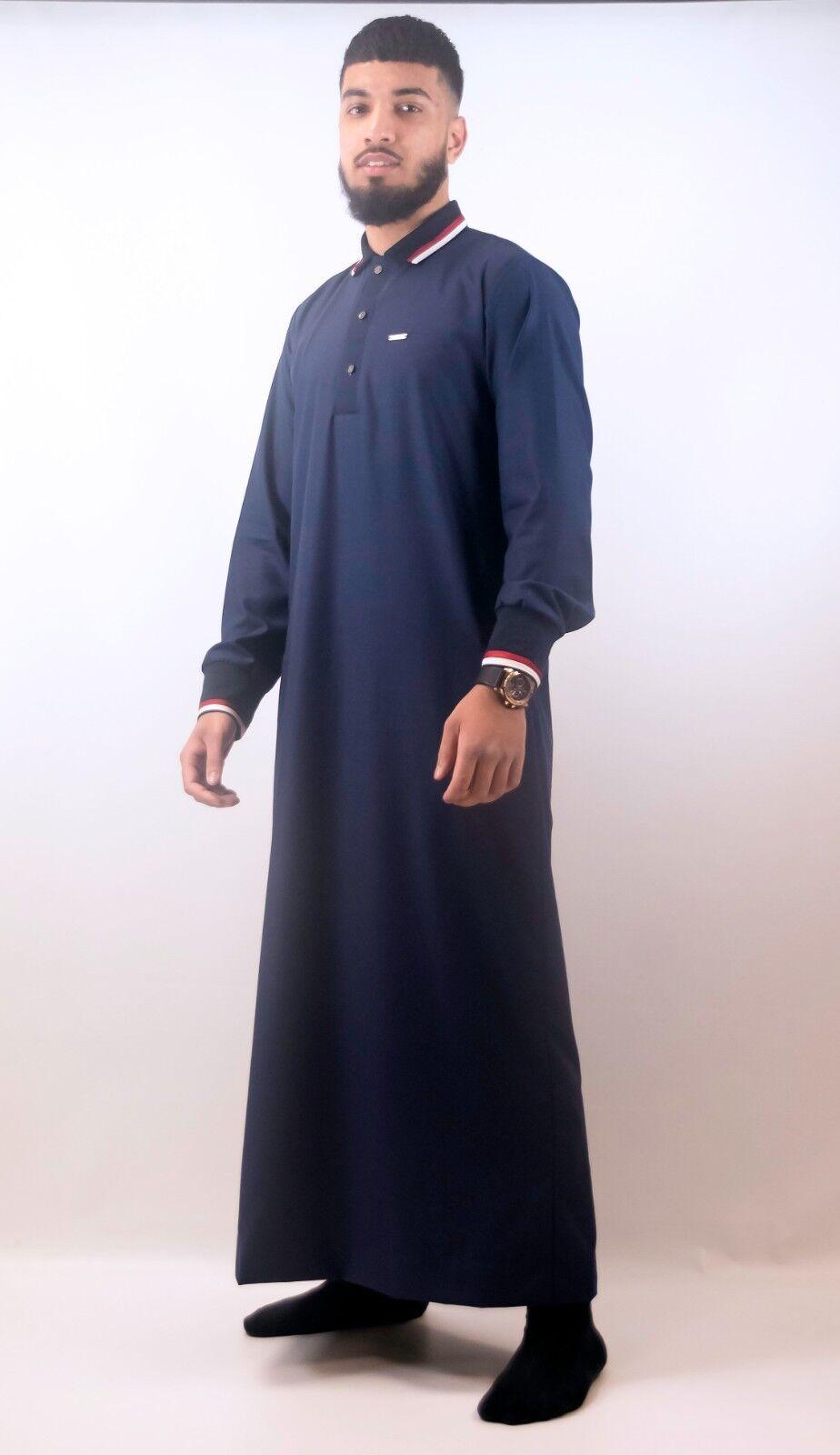 Mens Designer  The Man  Jubba Design Navy Polo Thobe, Arab Dubai UK SELLER