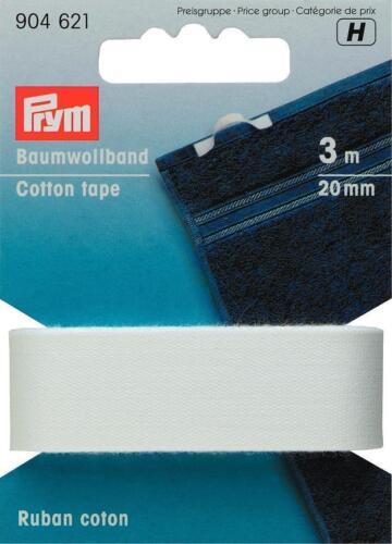 PRYM Bande allzweckband 20 mm BLANC 3 M Carte 904621