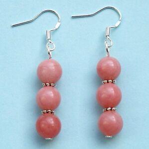 Gemstones-Earrings-Pink-Rhodochrosite-with-Sterling-Silver-Hooks-New-Pair-LB305