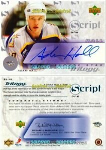 UD-TRILOGY-2003-ADAM-HALL-NHL-NASHVILLE-PREDATORS-S1HL-SCRIPT-ONE-AUTOGRAPH