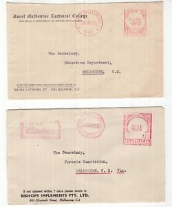 Victoria-Melbourne-2-x-POSTAGE-PAID-covers-1955-1956