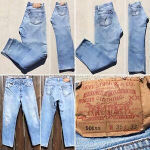"Vintage Levi's 501xx Jeans Button Fly  35 33 Measure 31 1/2 X 29 1/4"" Distressed"