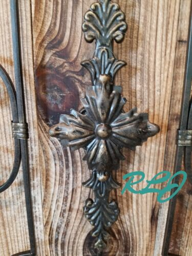 Rustic French Country Scrolling Garden Gate Wood Metal Wall Panel Art Home Decor