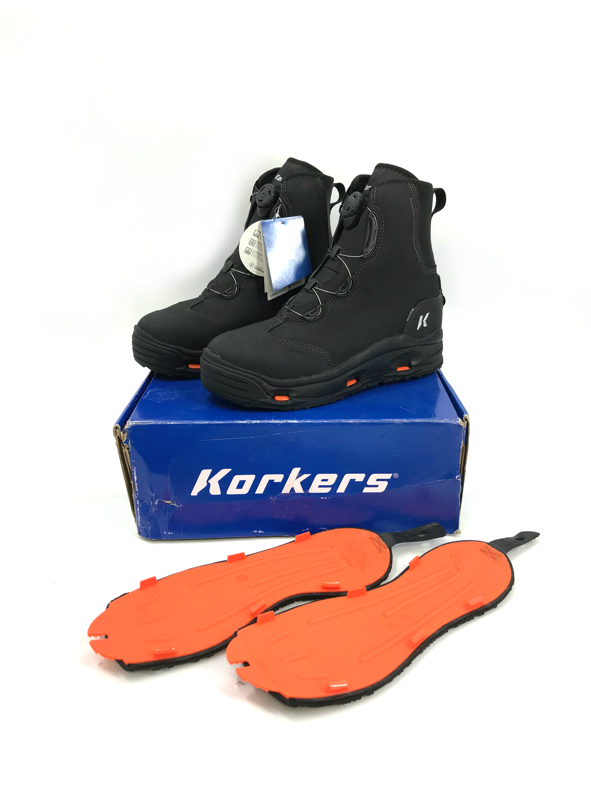 2 SOLES SIZE 12 KORKERS TERROR RIDGE WADING BOOT STUDDED KLING-ON RUBBER