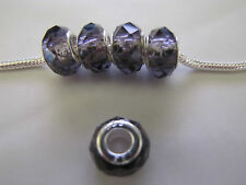 925 STAMPED SILVER PURPLE CRYSTAL FACETED BEAD FOR EUROPEAN STYLE CHARM BRACELET