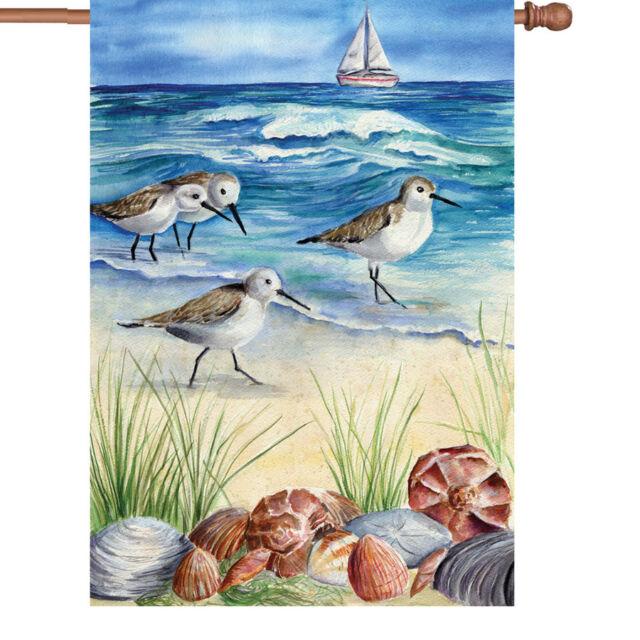 "Sandpipers Shore Birds on Beach HOUSE Flag 28 x 40"" Shells Coastal Decor Premier"
