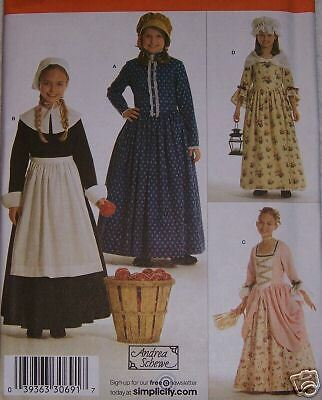 VINTAGE dress girls PILGRIM,PRAIRIE,CIVIL WAR sz 3-6