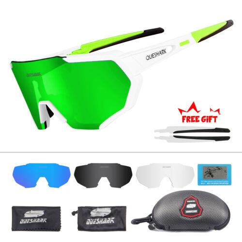 QUESHARK 4Lens//Set New Design Polarized Cycling Glasses Bike Eyewear Goggles