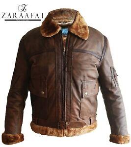 Brown RAF Flying Flight Aviator Men/'s Leather Jacket Sheepskin Bomber Fur Real