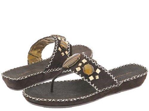 BCBG Max Azria Amulia shoes Sandals Womens MOCASIN SUEDE Thong Slides 7.5 NEW