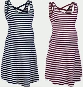 NUOVA-Look-Maternity-bianca-a-righe-Vacanze-Estive-gravidanza-Skater-Dress-10-16
