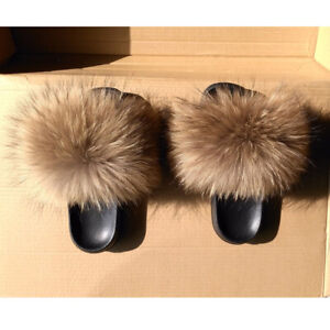 d3d232222 Luxury Lady Fluffy Real Fox Fur Slippers Raccoon Sandal Shoes Womens ...