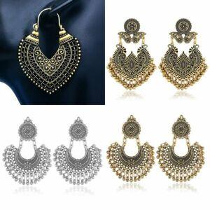 Bohemia Retro Gold Carved Moon Seed Beads Tassel Dangle Ear Stud Hook Earrings