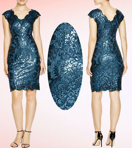 7153105c Image is loading 328-Tadashi-Shoji-Sequin-Embroidered-Lace-Starry-Night-
