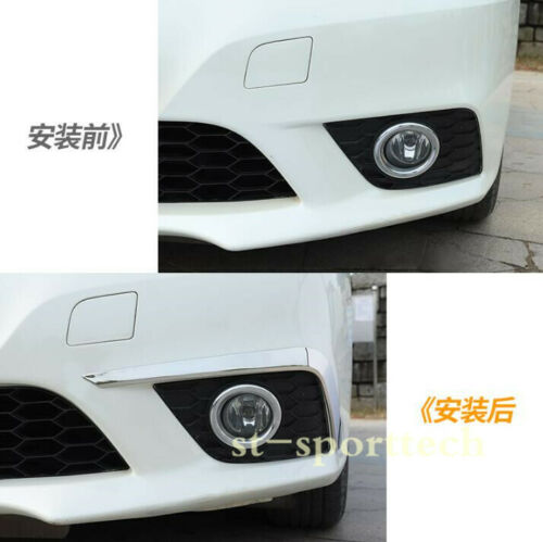 FOR Nissan Sentra 2016-2018 Stainless Chrome Front Fog Light Stripe Cover Trim