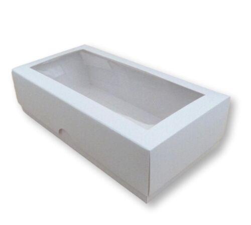 25 Blanc 8 x 4 in VÊTEMENTS boîtes avec fenêtre etc. gâteaux environ 10.16 cm cadeaux