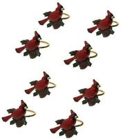 Lenox Holiday Christmas 7345 Red Cardinal Bird Acorn Enamel Napkin Rings Set 8
