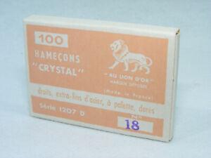 Boite de 100 anciens Hameçons AU LION D'OR N°18 CRYSTAL Dorés à palette