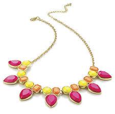 Amarillo Neón Rosa Naranja declaración collar de oro AJ28224