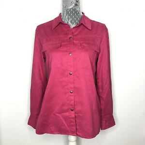 CHICOS-Womens-Jacket-Pink-Suede-Leather-Style-Button-Down-Front-Size-1-Medium