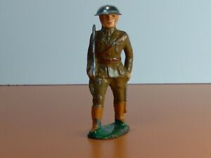 Vintg Barclay Manoil Toy Lead Soldier Officer Marching with Sword Helmet Tin Hat
