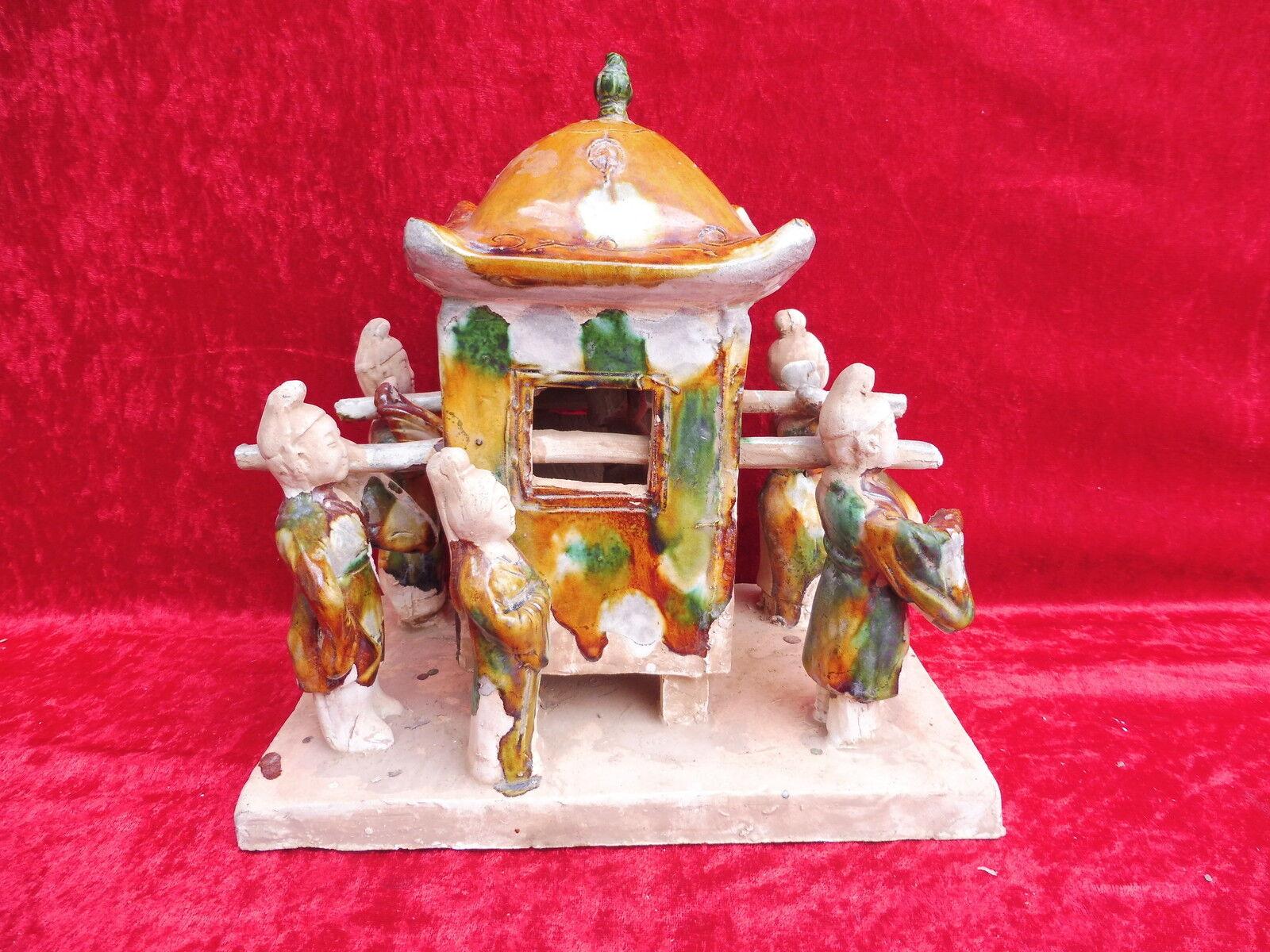 Schöne alte Keramik__China__Senfte Keramik__China__Senfte Keramik__China__Senfte mit Hofdame und Trägern__ glasiert 9fb97c