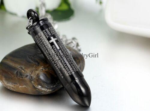 """Black Silver Bullet Cross Spanish Prayer Stainless Steel Men Unisex Necklace 22/"""""""