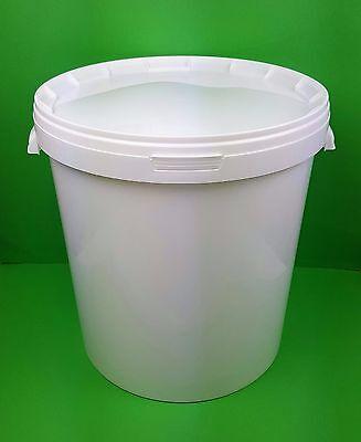 33 Liter Hobbock mit Griffmulden  Eimer mit Deckel weiß Plasteeimer