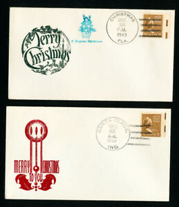 USA-Lot-de-2-postmarkers-Christmas-Stamp-Couvre